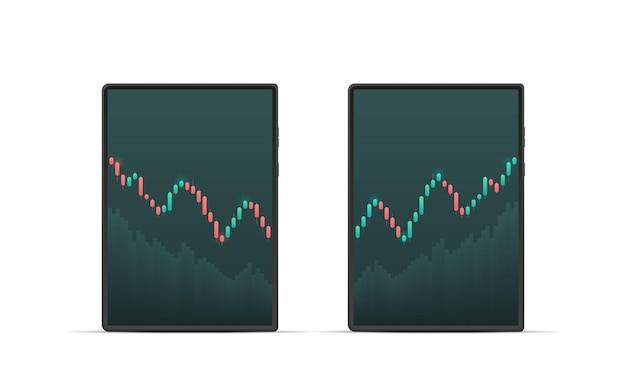 株式市場を表示するタブレット。ローソク足。株式市場での投資取引。