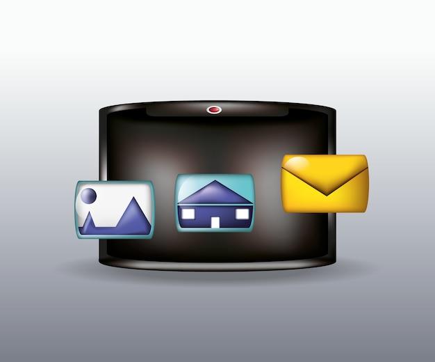 エンベロープとソーシャルメディアに関連するアイコン付きのタブレット