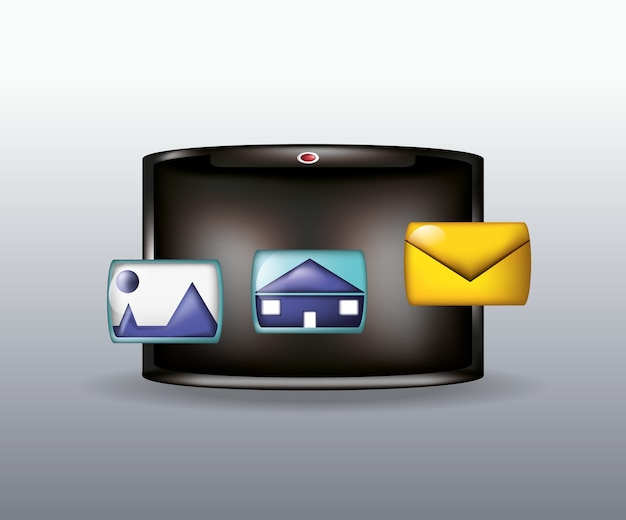 Tablet with envelope and social media related icons