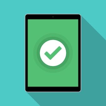 Планшет с уведомлением о зеленой галочке в плоском дизайне