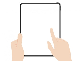 Tablet with hands
