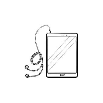 헤드폰 손으로 그린 개요 낙서 아이콘이 있는 태블릿. 디지털 장치 및 플레이어 개념에서 음악 듣기