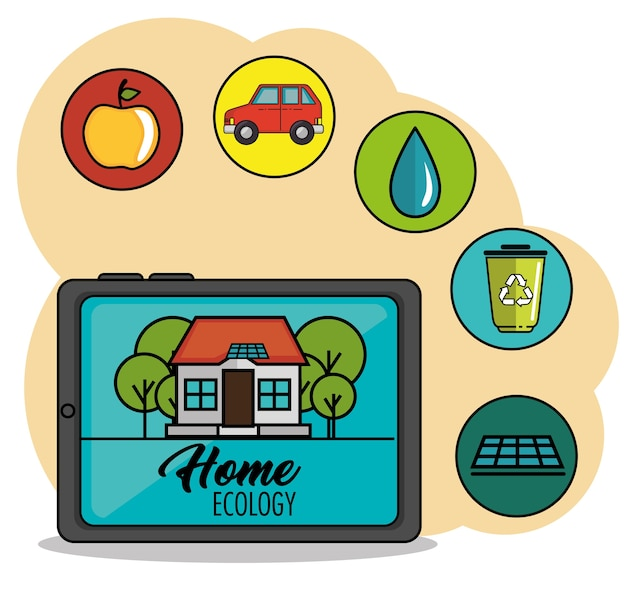 Tablet with house and home ecology sign  next to related icons over peach and white background vecto