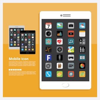 Tablet with icon design set vector illustration