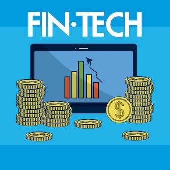 マネー金融技術のベクトル図のグラフィックデザインとタブレット