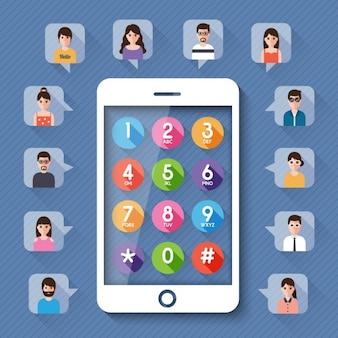 Tablet con i numeri e le piazze con le immagini di persone in tutto