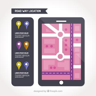 Tablet con una road map e un insieme di puntatori