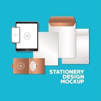 Планшет со смартфоном и набором фирменных макетов фирменного стиля и темы дизайна канцелярских товаров