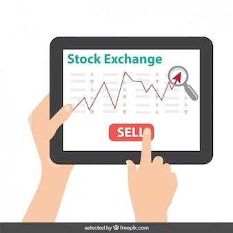 Tablet with stock exchange graphic on screen