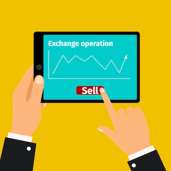 Tablet with stock exchange graphic