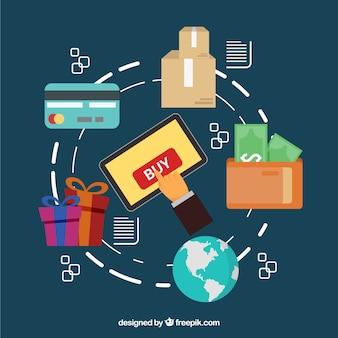 Tablet, globo del mondo, carta di credito e scatole