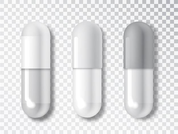 정제 의료 세트 모형. 투명 한 배경에 고립 된 현실적인 캡슐입니다. 의료 및 건강 관리 개념입니다.