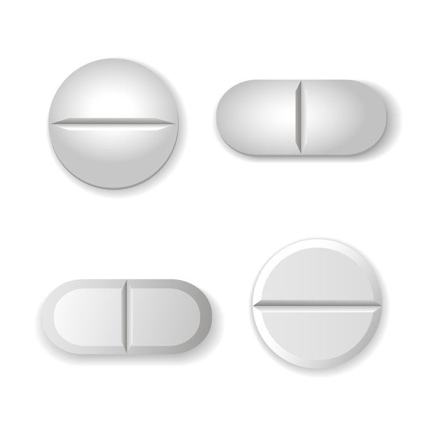 Tablets and pills vector set isolated