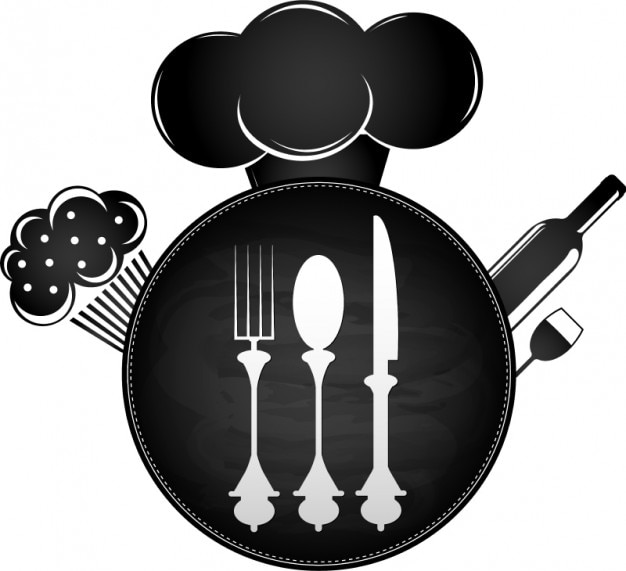 Tableware black and white design background