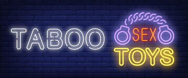 Taboo neon sign. glowing bar sex toys lettering and handcuffs
