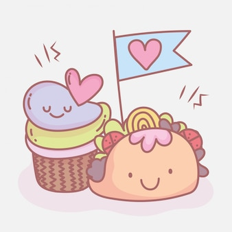 Тако и сладкие кексы меню ресторана еда мило