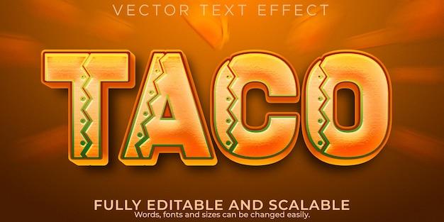 タコベルのテキスト効果編集可能なメキシコと食べ物のテキストスタイル