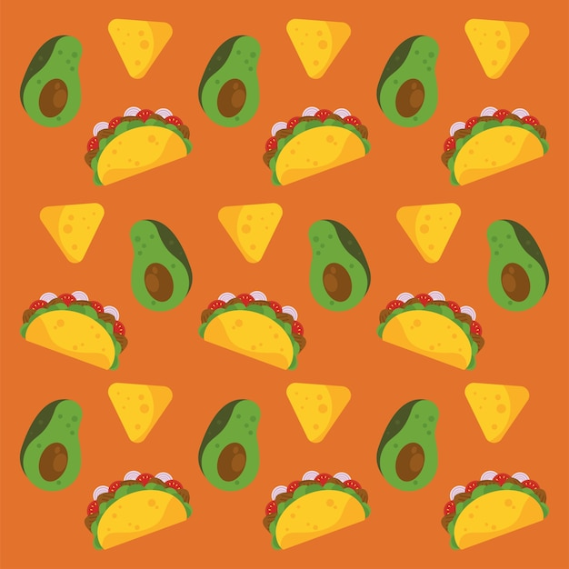 Taco day celebration mexican poster with avocados and nachos pattern.