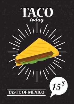 レタリングと値札がタコスの日お祝いメキシコポスター。