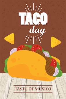 Taco day celebration mexican poster with nachos.