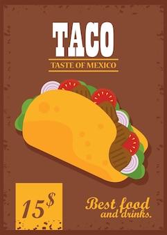 タコスの日お祝いメキシコポスター価格とレタリング。