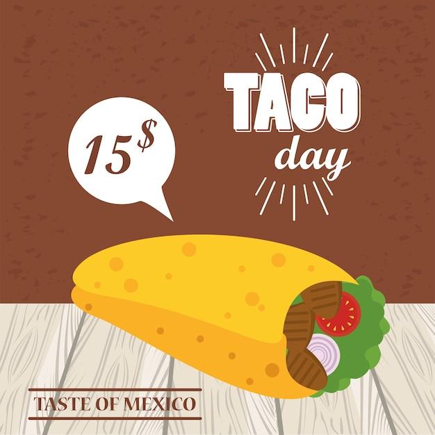 値札とレタリングのタコスの日お祝いメキシコポスター。