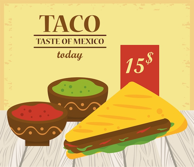 Taco day celebration mexican poster with tomato and guacamole sauces.