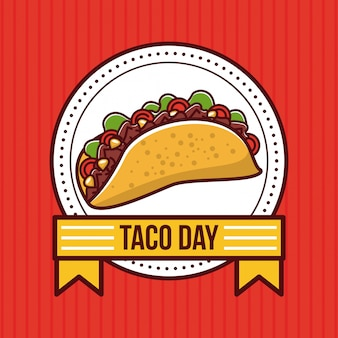 Taco day mexican food cartoon