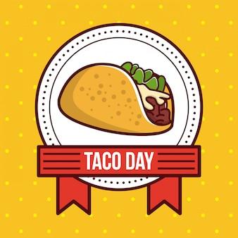Taco day mexican food cartoon