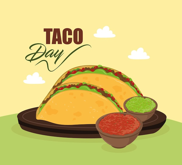 Taco day tacos with sauces