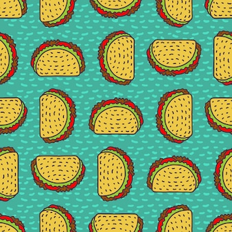 Taco drawing background. mexican fast food pattern.