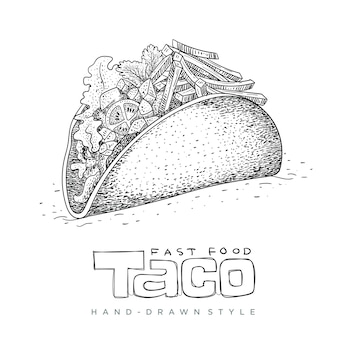 Taco fast food in hand drawn
