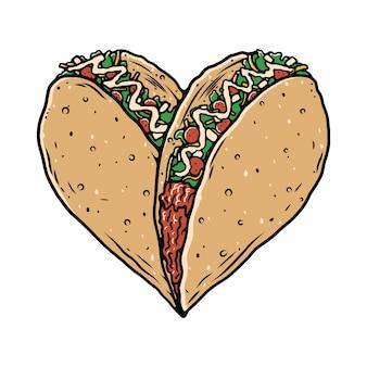 Taco food loverイラストレーションtシャツ