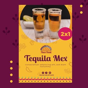 Taco food restaurant flyer template