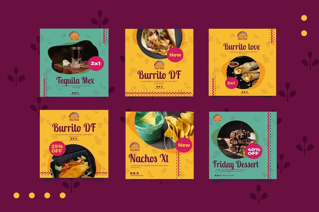 Taco food restaurant social media posts template