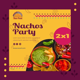 Taco food restaurant квадратный флаер шаблон
