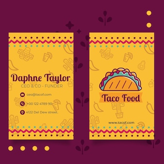 Taco food restaurant vertical business card template