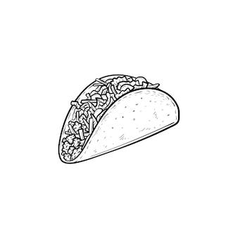 타코 손으로 그린 개요 낙서 아이콘입니다. 전통적인 멕시코 패스트 푸드 - 흰색 배경에 고립 된 인쇄, 웹, 모바일 및 infographics에 대 한 타코 벡터 스케치 그림.
