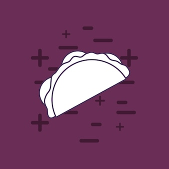 Taco icon over purple background, colorful line design. vector illustration