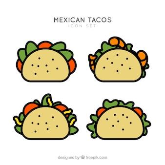 タコスアイコンセット。メキシコ料理