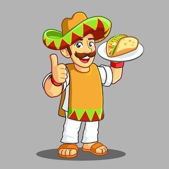 Taco man serves a taco white plate