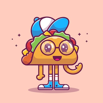 Taco mascot cartoon illustration. cute taco kid character. food concept isolated