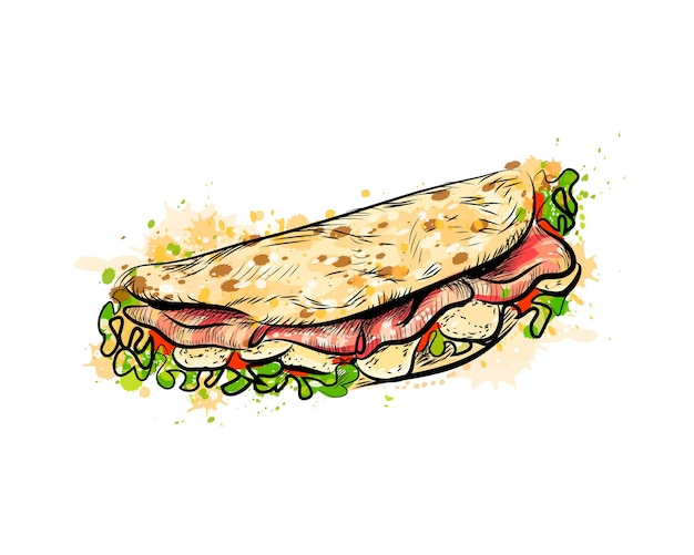 Taco mexican fast food. traditional tacos from a splash of watercolor, hand drawn sketch.  illustration of paints