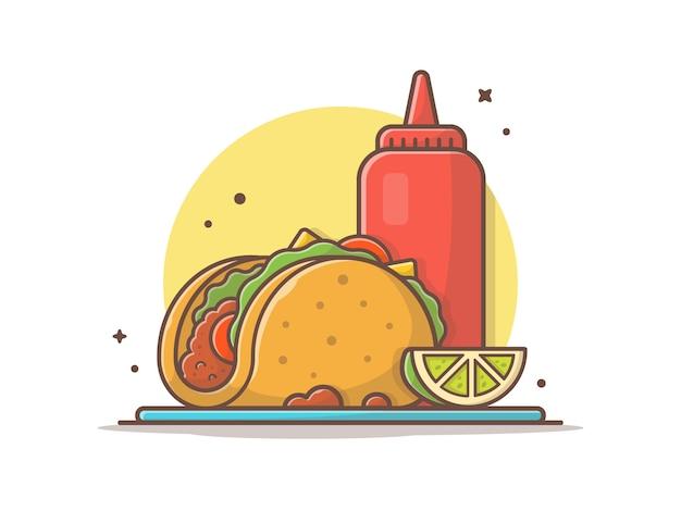 Тако мексиканская еда с лимоном и кетчупом иконка иллюстрация