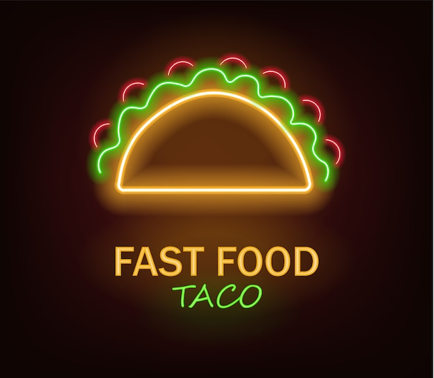 Taco neon, fast food neon, delicious taco, neon light