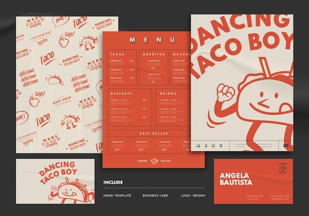 Taco restaurant menu and business card template