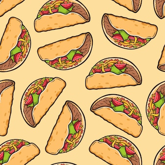 Taco seamless pattern. traditional mexican food background.