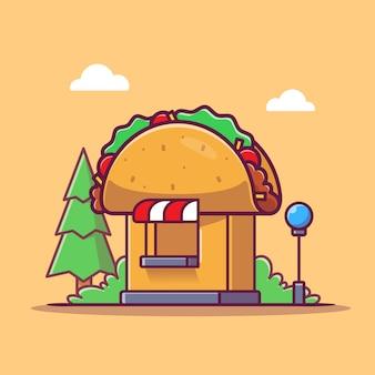 Иллюстрация значка шаржа магазина тако. продовольственный магазин здание значок концепции изолированы. плоский мультяшном стиле