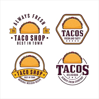 Taco shop fresh and tasty logo collection