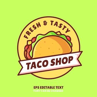타코 가게 로고 벡터 아이콘 일러스트레이션레스토랑을 위한 플랫 스타일의 프리미엄 패스트 푸드 로고